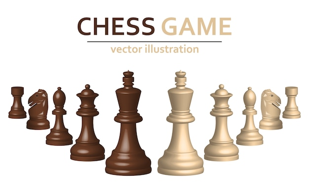 3d chess game pieces design illustration isolated on white background Premium Vector