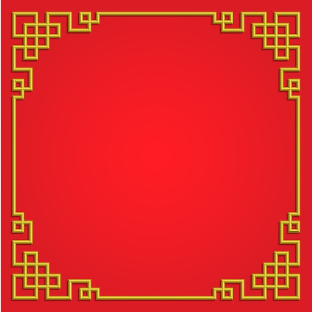 3d chinese pattern frame border art china style Premium Vector