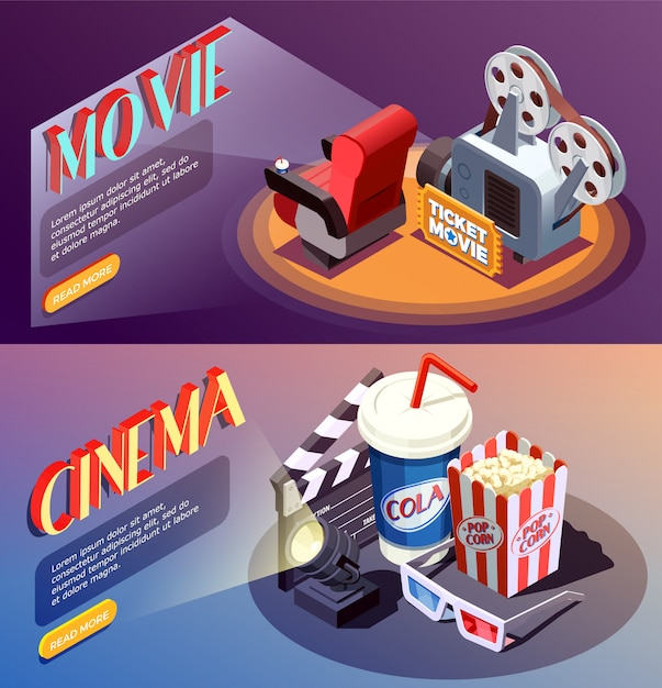 3d cinema banners collection Free Vector