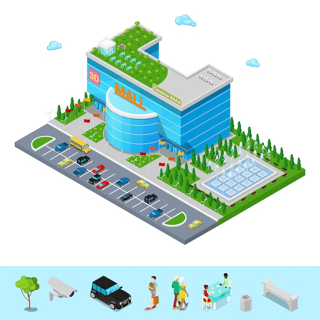 Изометрические здание торгового центра с 3d cinema park и фонтан. Premium векторы
