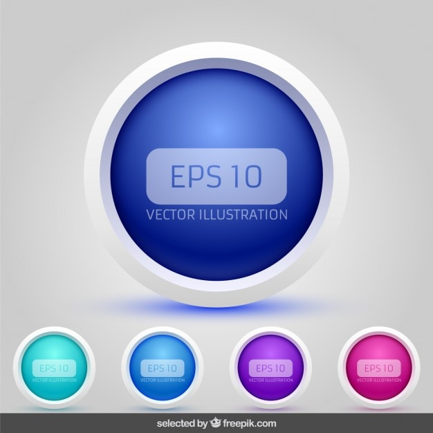 3d circular buttons collection Free Vector