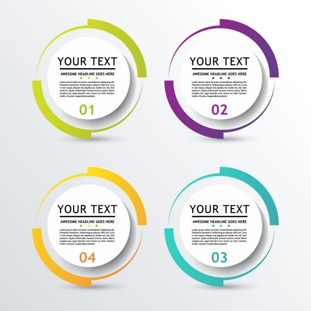 3d circular options for infographic Free Vector