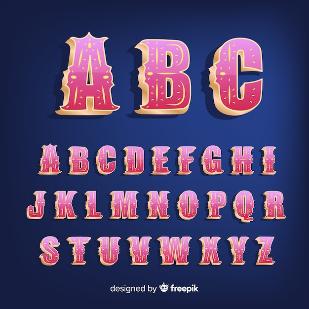 3d circus alphabet Free Vector