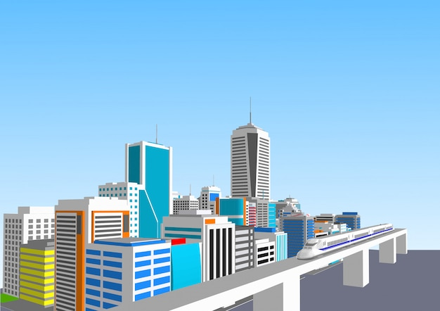 3d city with a high-speed train Premium Vector