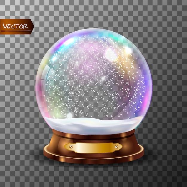 3d classic snow globe . Premium Vector