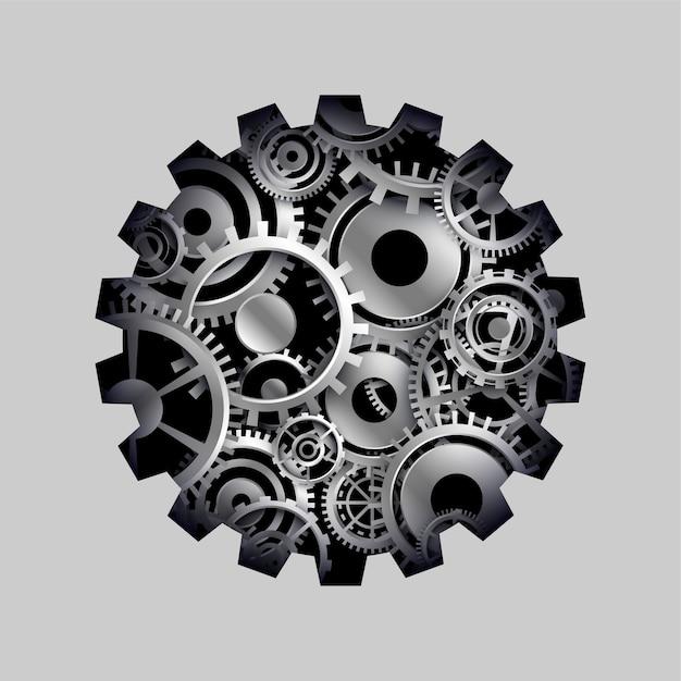 3d 장부 및 기어 휠 개념 배경 무료 벡터