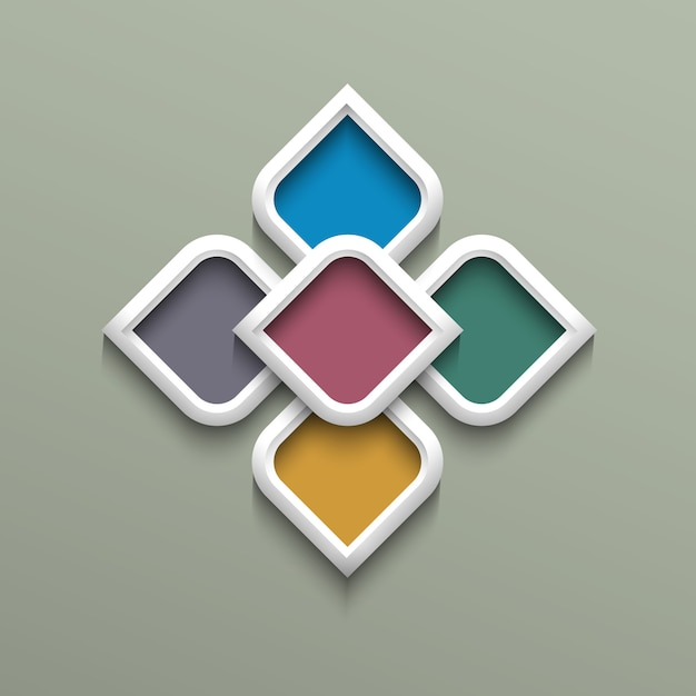 3d color pattern in arabic style Premium Vector