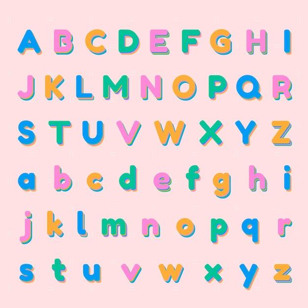 3dカラフルなアルファベットセット 無料ベクター