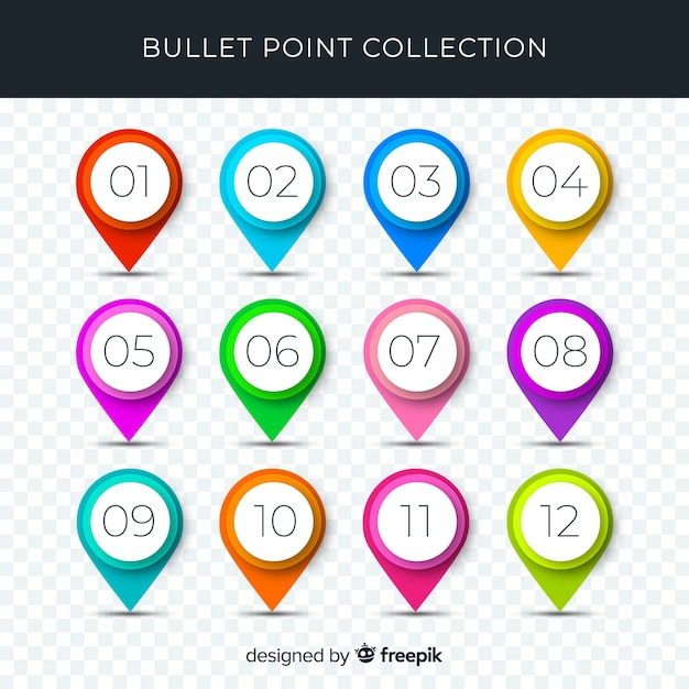 3d colorful bullet point collection Vector | Free Download