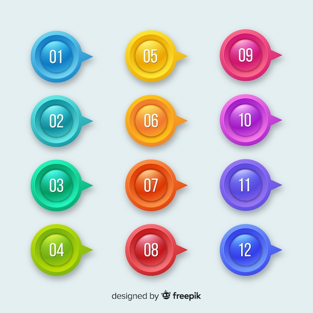 3d colorful bullet point collection Free Vector