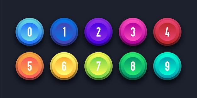 番号の箇条書きで設定された3 dのカラフルなアイコン Premiumベクター