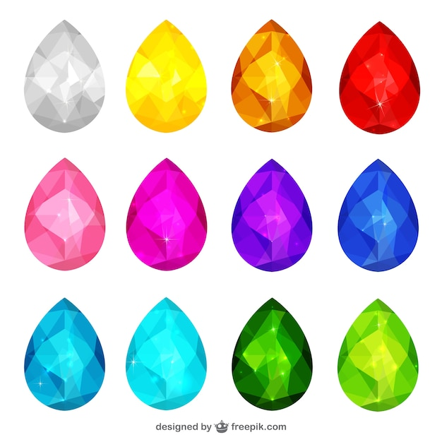 3D Colorful jewels Vector | Free Download