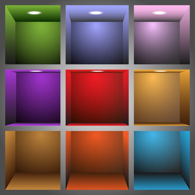 3d colorful shelves Premium Vector