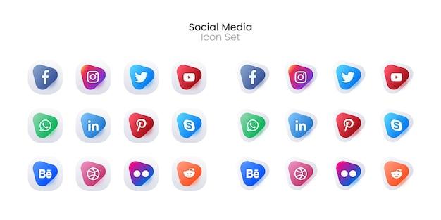 Insieme colorato dell'icona di media sociali 3d o raccolta del logotipo Vettore gratuito