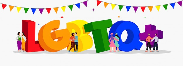 3d colorful text of lgbtq+  with gay and lesbian couples Premium Vector