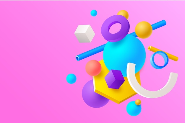3d colourful background with geometrical shapes Free Vector