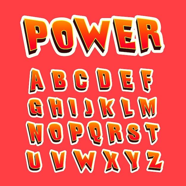 3d comic alphabet design Free Vector