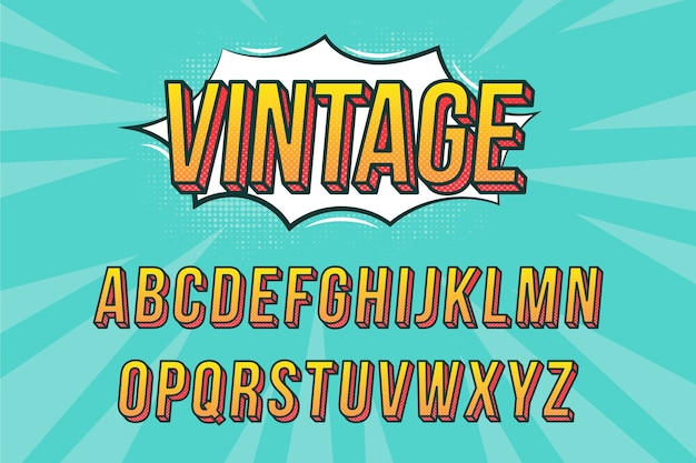 3d comic alphabet design Free Vector
