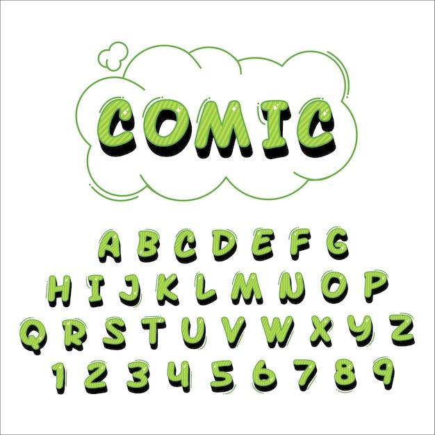 3d comic alphabet lettering Free Vector