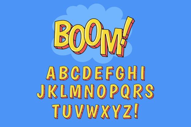 3d comic alphabet theme Free Vector