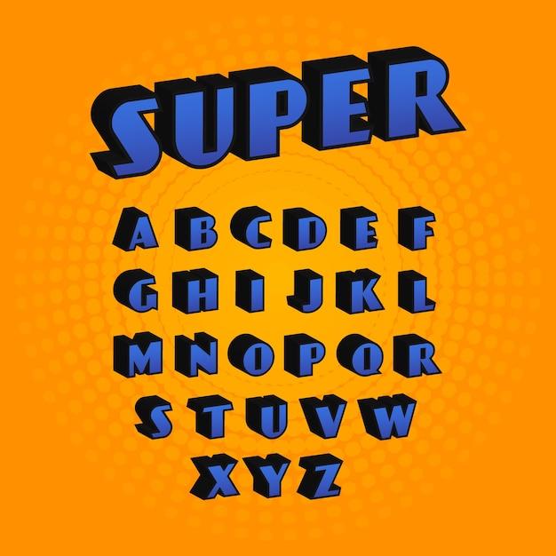 3d comic alphabet Free Vector