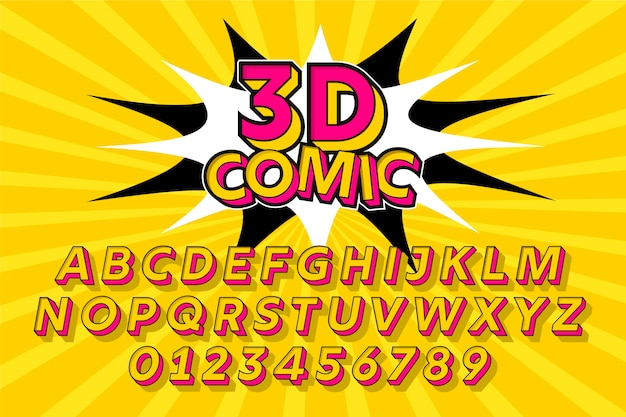3d comic design for alphabet collection Free Vector