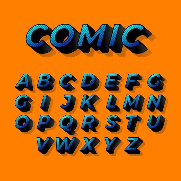 3d 만화 디자인 알파벳 무료 벡터