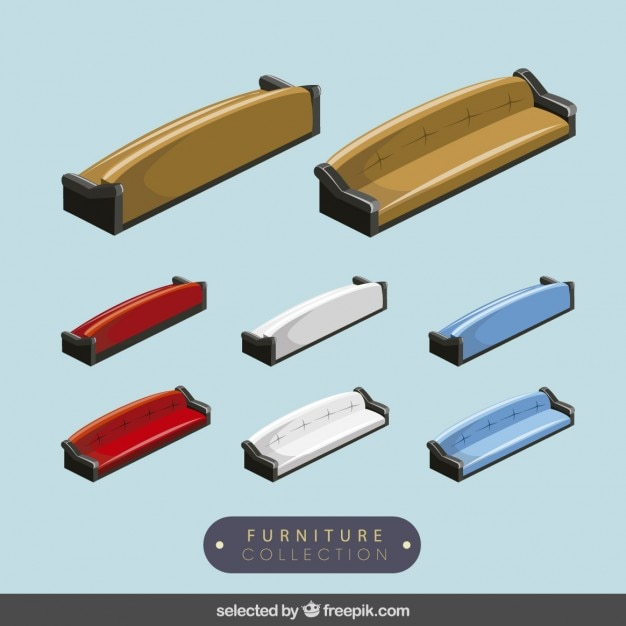 3d couches collection Free Vector