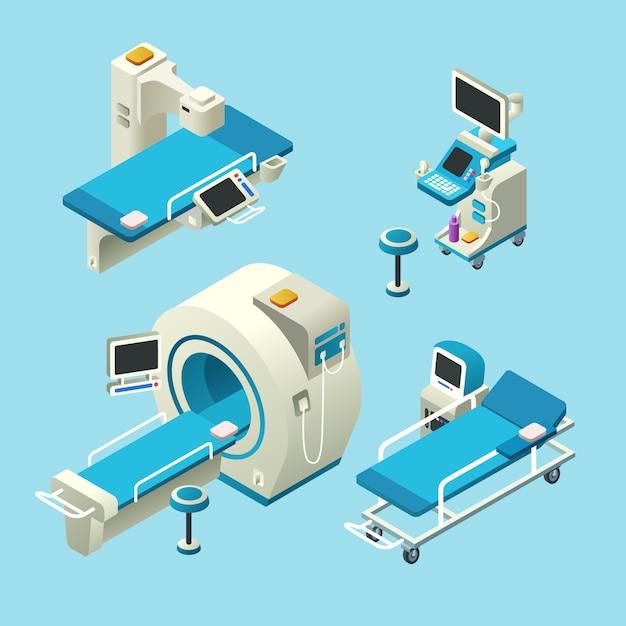Изометрическое медицинское диагностическое оборудование установлено. 3d иллюстрации компьютерной томографии ct Бесплатные векторы