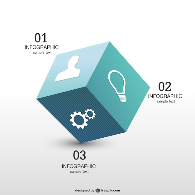 3d cube infographics Free Vector