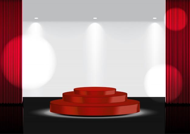 3dリアルなオープン赤curtainred賞ステージまたはスポットライトイラスト付きのショー、コンサート、プレゼンテーション用の映画館 Premiumベクター