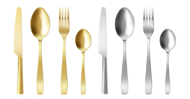3d cutlery of golden and silver color fork, knife and spoon set. Free Vector
