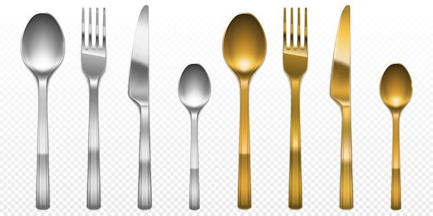 金色と銀色のフォーク、ナイフ、スプーンの3dカトラリーセット。銀製品と金の道具、透明な背景で隔離の高級金属食器の上面図、リアルなイラストをケータリング 無料ベクター