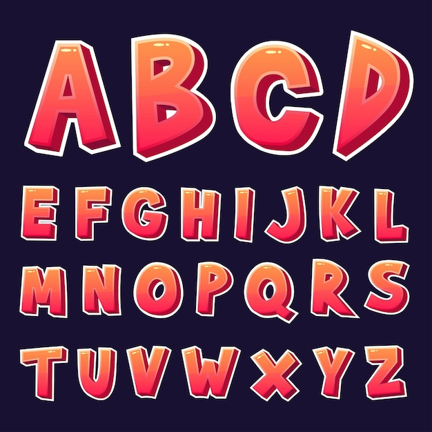 3d design alphabets set Premium Vector