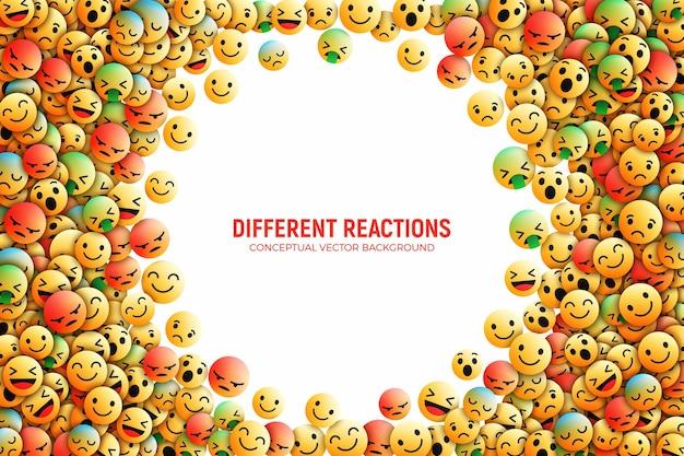 3d-дизайн facebook emoji иконки с различными реакциями социальная сеть концептуальное искусство иллюстрации Premium векторы