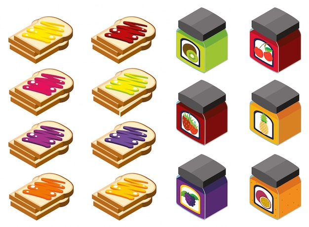 3d-дизайн для хлеба и различные вкусы варенья Бесплатные векторы
