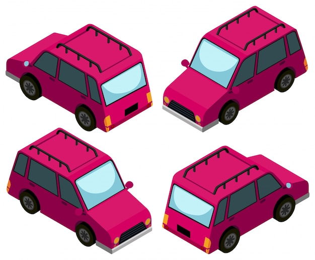 3d design for pink cars Free Vector
