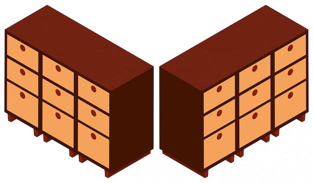 Progettazione 3d per armadi in legno Vettore gratuito