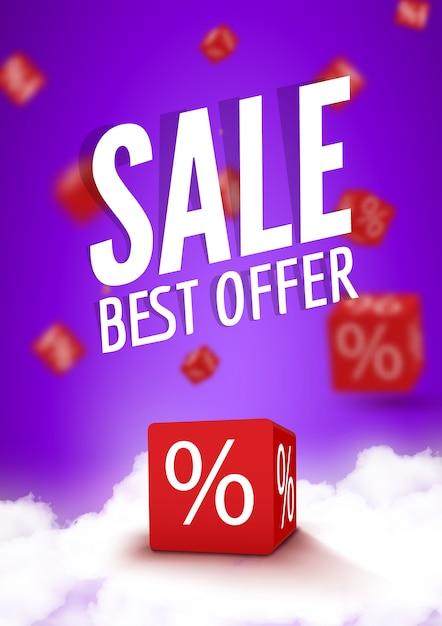 3d скидка коробки кости для магазина рынка и магазина. распродажа лучшее предложение рекламный плакат или флаер брошюра Premium векторы