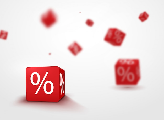 3d discount boxes dice for store market and shop. sale promotional concept Premium Vector