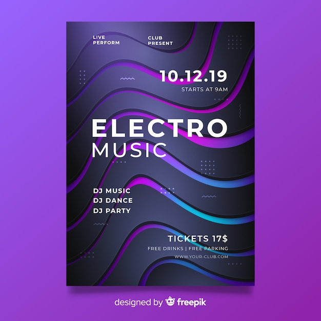 3d effect abstract electronic music poster template Free Vector