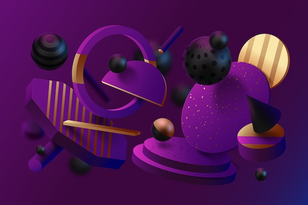 3d effect abstract textured shapes background Free Vector