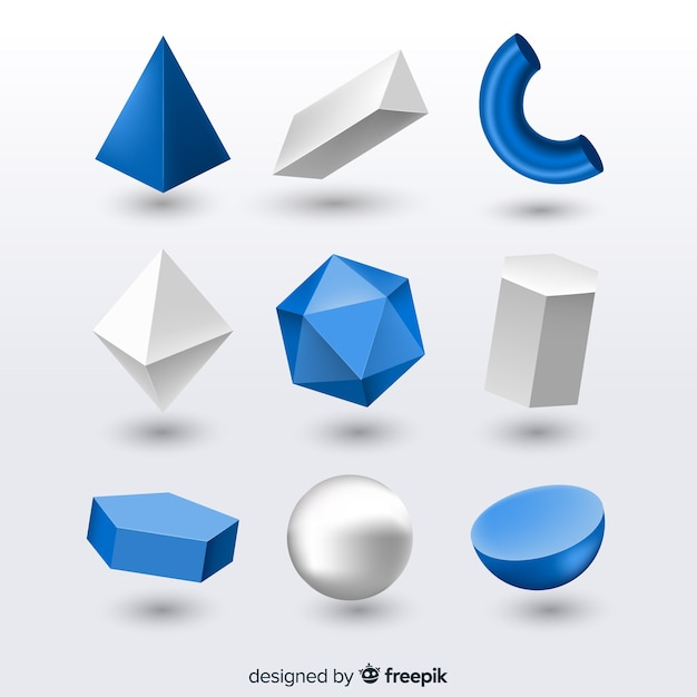 3d effect of geometric shapes Free Vector