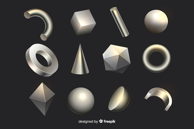 3d effect geometric shapes Free Vector