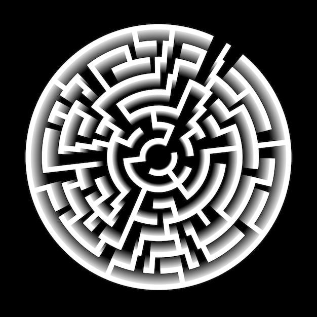 3d effect vector maze. circle labyrinth illustration Premium Vector