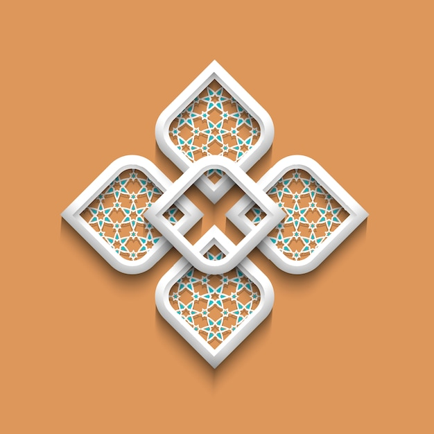 3d elegant pattern in arabic style Premium Vector