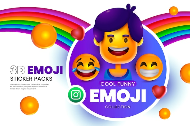 3d emojis background with smiley faces Free Vector