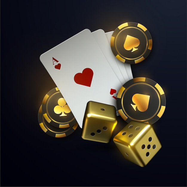 3d falling poker chips and playing cards with blurred effect.  illustration Premium Vector