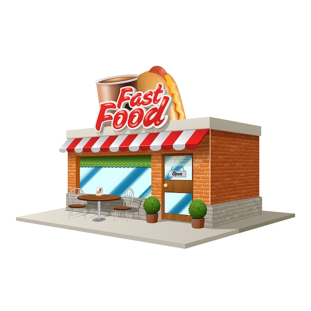3d fast food restaurant or cafe building isolated on white background Free Vector