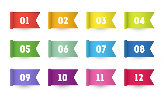 3d flag number bullet points from one to twelve Premium Vector